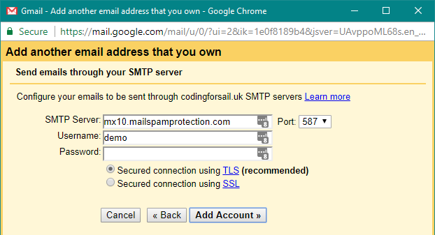 Google settings for adding a new email address - 2nd step