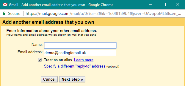 First step of adding new address to gmail