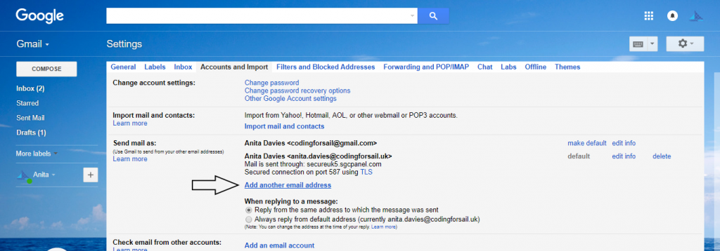 Google Settings - add another email address