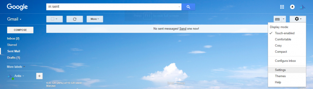 Google mail with the settings option highlighted