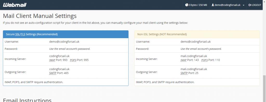 Webmail manual configuration settings