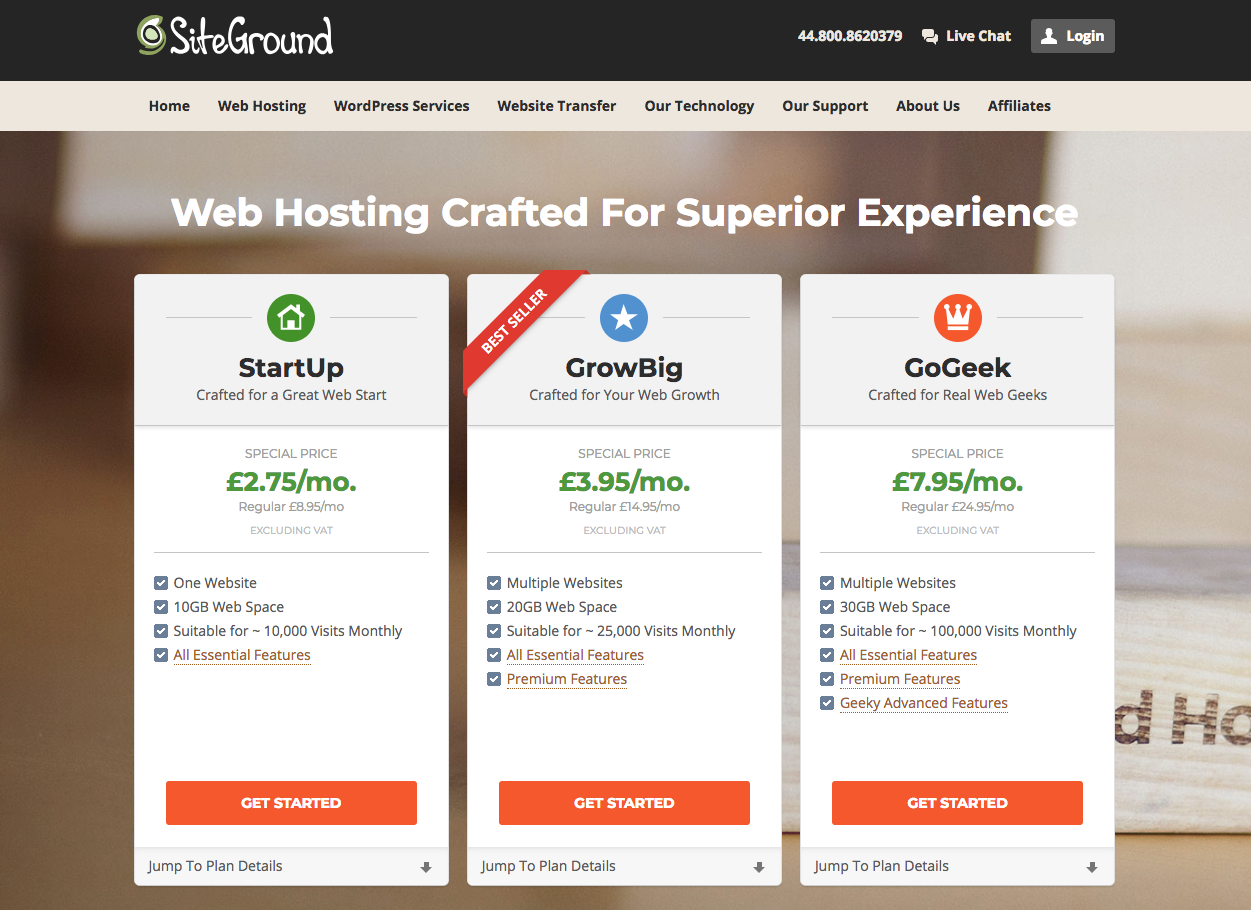 SiteGround website hosting signup step 1