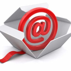 Red email @ sign in box with red ribbon