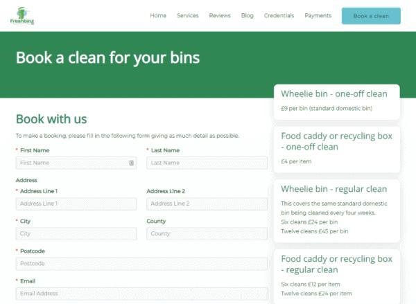 Screenshot Freshbinz Ltd Book a Clean