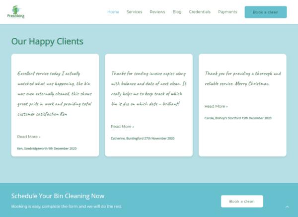 Screenshot Freshbinz Ltd Home Page Reviews Section