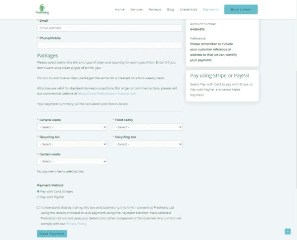 Screenshot Freshbinz Ltd Make a Payment