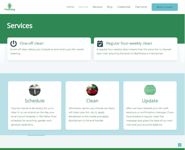 Screenshot Freshbinz Ltd Services Page