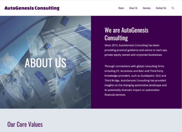 Screenshot AutoGenesis Consulting About page