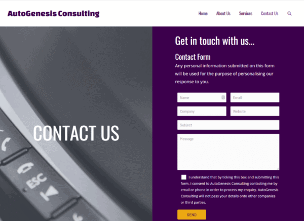 Screenshot AutoGenesis Consulting Contact page