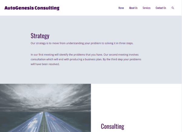 Screenshot AutoGenesis Consulting Services page