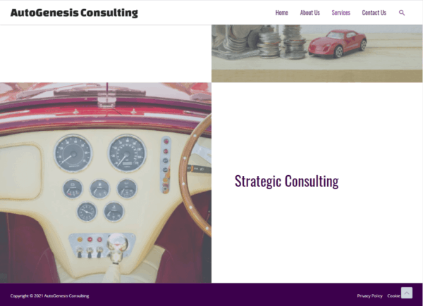 Screenshot AutoGenesis Consulting Services page scrolled down