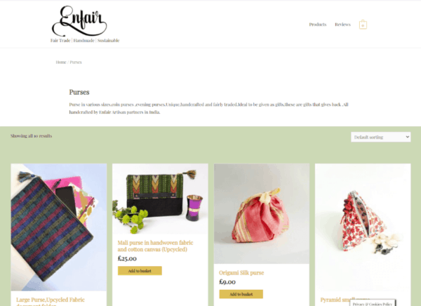 Screenshot Enfair Product Category page