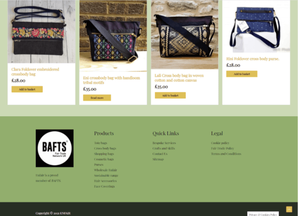 Screenshot Enfair Products page