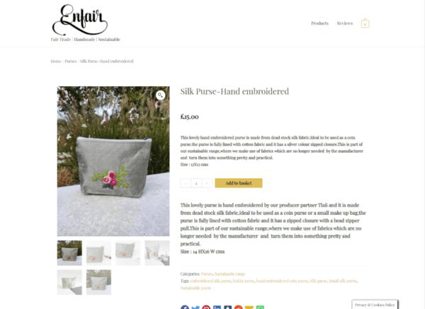 Screenshot Enfair Single Product page