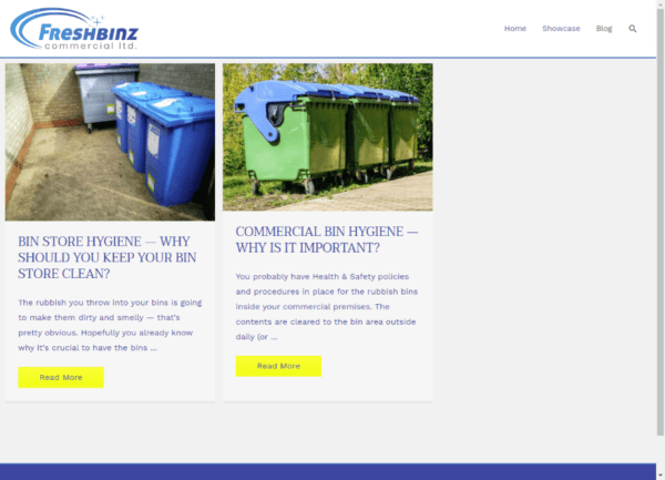 Screenshot Freshbinz Commercial Blog page